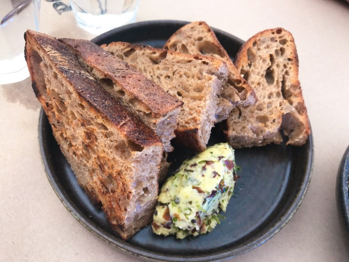 Sourdough bread and seaweed butter at Prawn on the Farm, Padstow, Cornwall