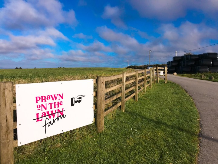 The sign to Prawn on the Farm