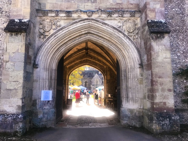 The entrance archway at The Hospital of St Cross in Winchester