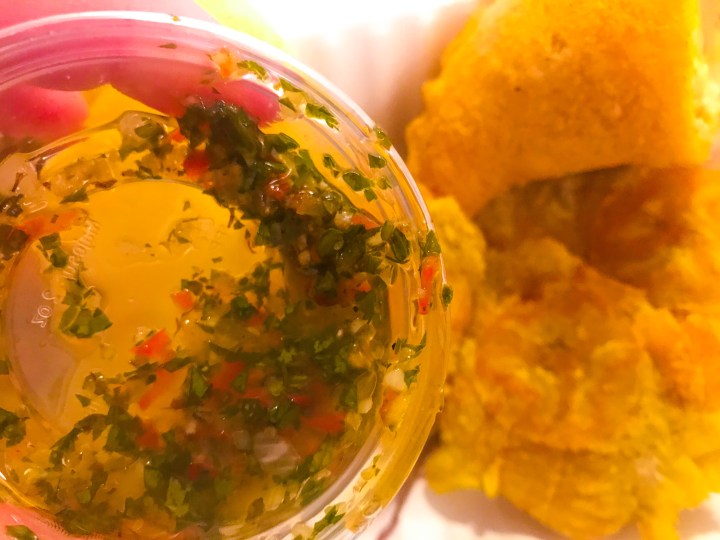 Chimichurri sauce from Latin Food At Home, Colombian take away food from Portsmouth, Hampshire