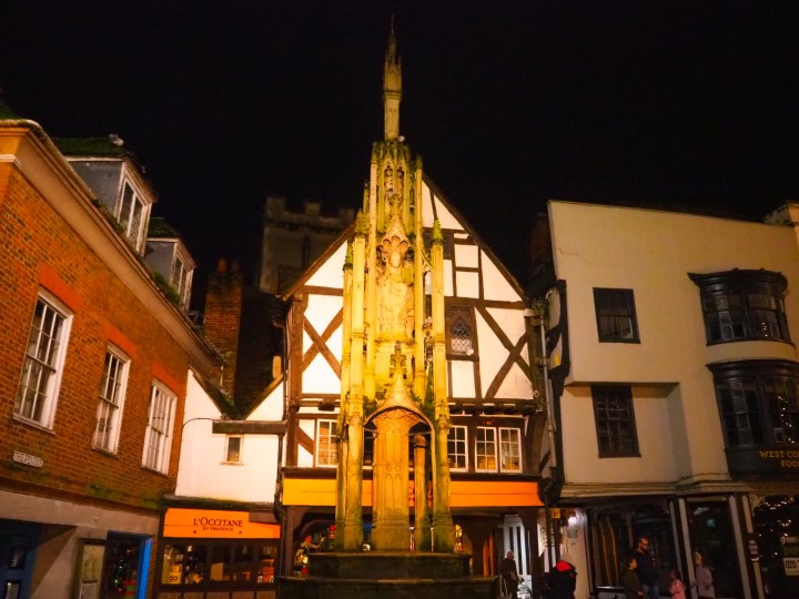 The Winchester Christmas Lights at the Buttercross Monument