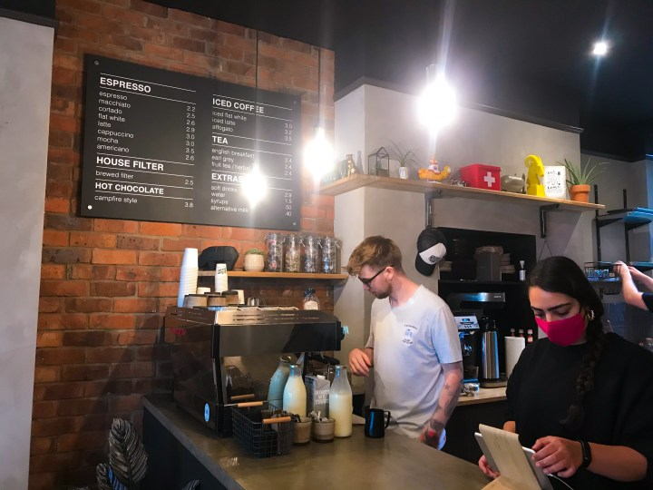 The coffee counter at The Steam Room Southsea in Portsmouth, Hampshire