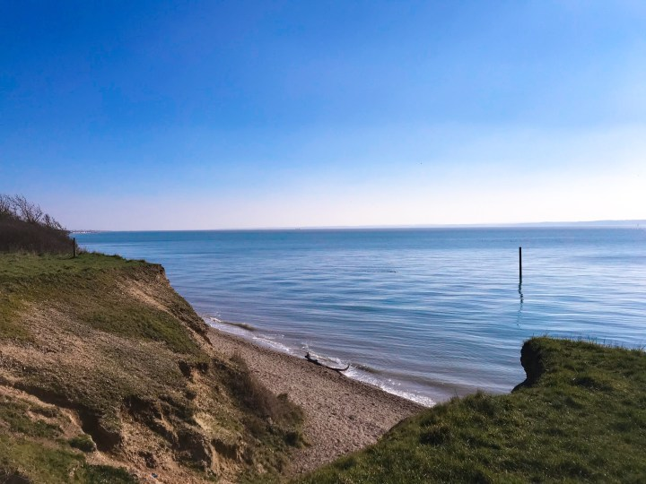Be careful of the cliffs when walking the Chilling Coastal Area, Brownwich Beach & the Solent Way