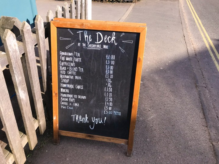 The menu at The Deck On The Go in Wickham, Hampshire