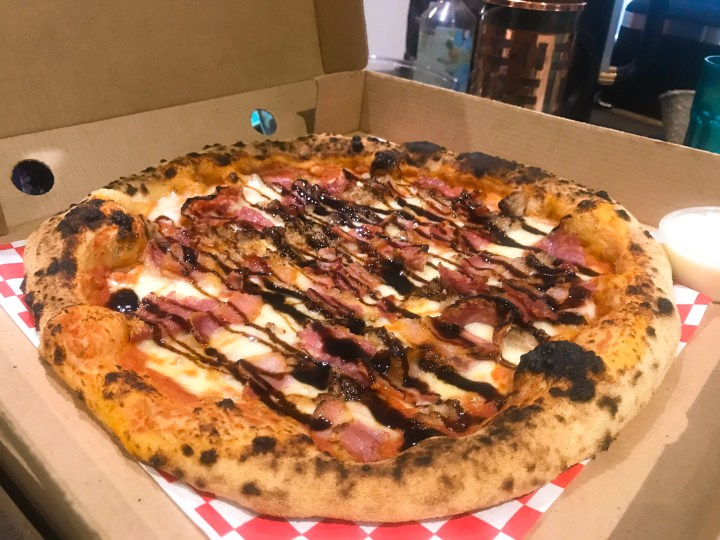 Piggy Three Ways pizza from Arty Stan takeaway pizza in Southampton