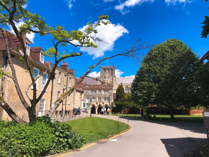 Behind Winchester Cathedral on the Winchester Walking Tours