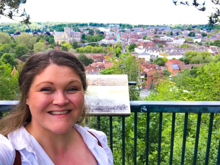Bex at the St Giles Hill View Point looking out across Winchester