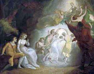 The masque in The Tempest, painting from the George Romney School