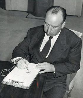 Hitchcock storyboarding one of his films, circa late 1930s