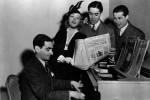 Irving Berlin, Alice Faye, Tyrone Power, and director Henry King during the filming of Alexander's Ragtime Band (1938)