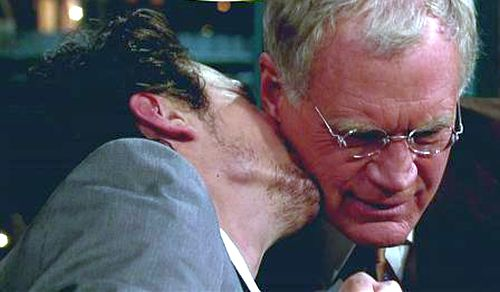 Screenshot of James Franco kissing David Letterman on Letterman's show
