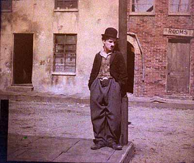 A rare early color shot of Chaplin