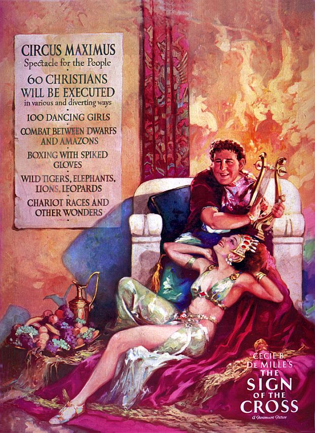 The advertising campaign for The Sign of the Cross gave the impression that Paramount Pictures was having a gay old time. This film was the first in Hollywood history to feature homosexual characters in its ads; they were painted by Dan Sayre Groesbeck.