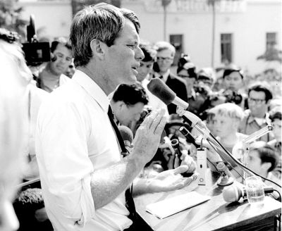 Robert F. Kennedy giving a speech in 1968. Public domain photo, per Wikimedia Commons