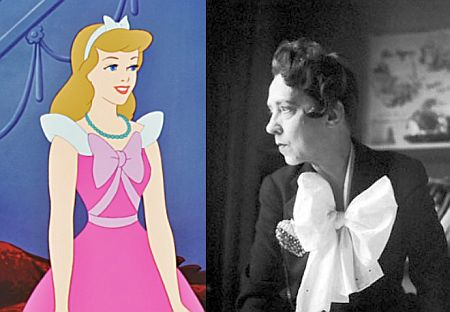 Figure 2: Cinderella wearing an Elsa Schiaparelli outfit. On the right, a portrait of the Italian designer.