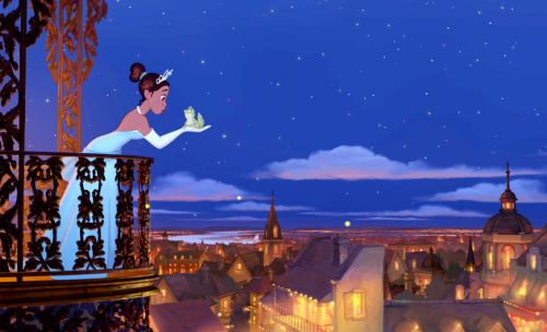 Princess Tiana on a balcony above an idealized New Orleans