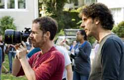 The Coen Brothers on the set
