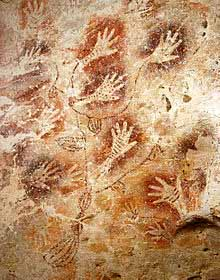 A cave painting in Borneo