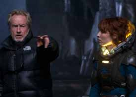 Scott on the set of Prometheus