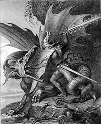 An 1849 engraving by Kaulbach showing Siegfried slaying the dragon