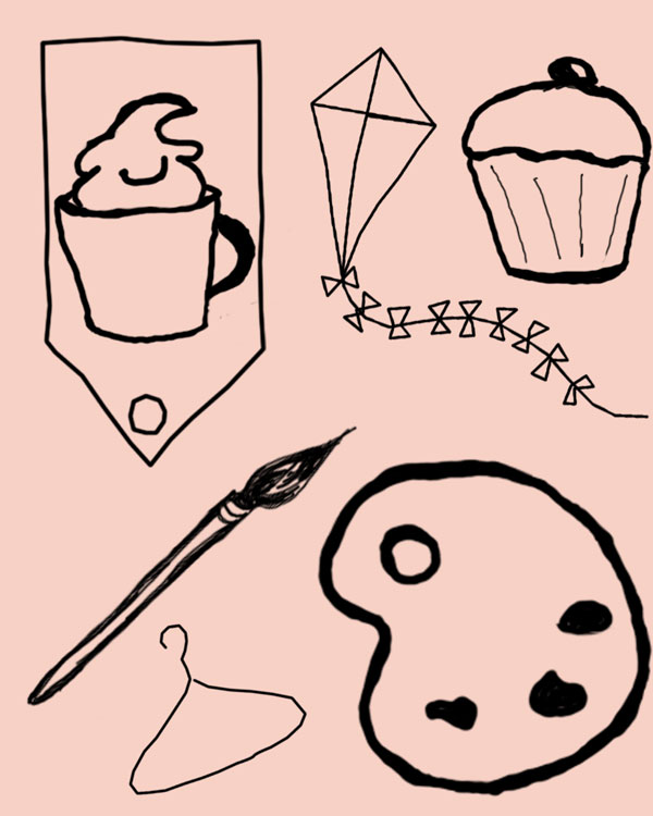 Free cupcake and art supply graphics