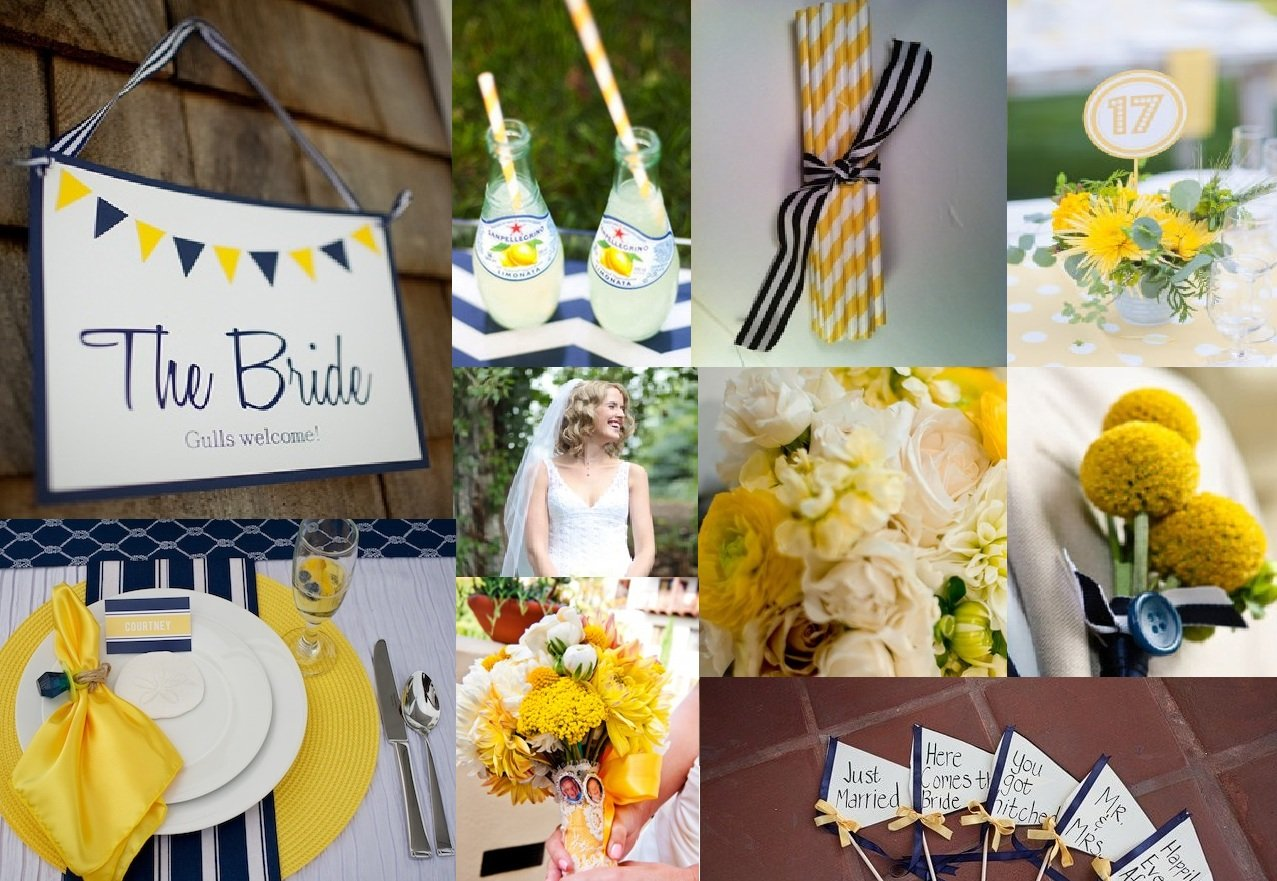 Navy And Yellow Home Wedding Inspiration