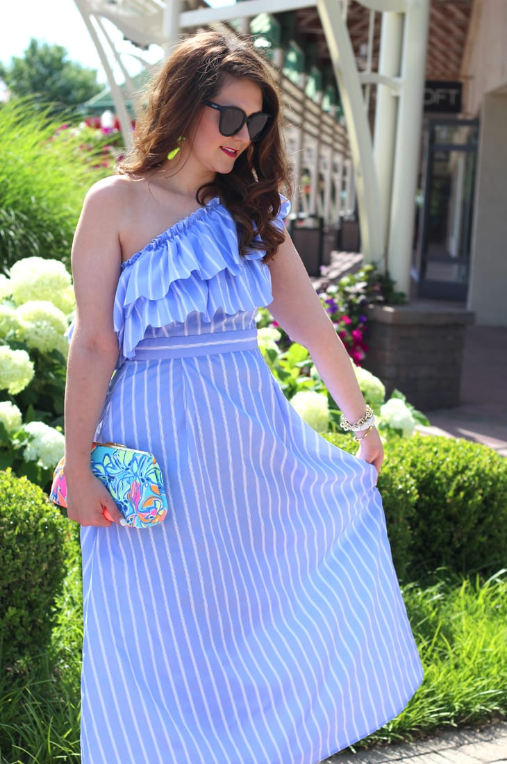 One Shoulder Ruffle Dress Under 30  Bright on a Budget