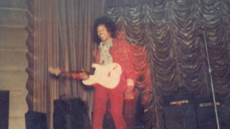 Jimi Hendrix on stage at Brighton Dome in 1966
