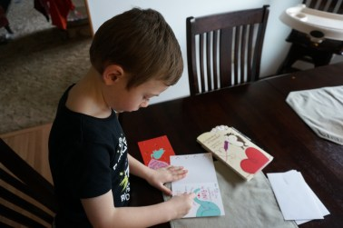 Writing Valentine cards