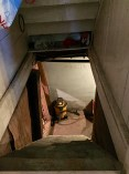 The steep steps down into the dark basement.