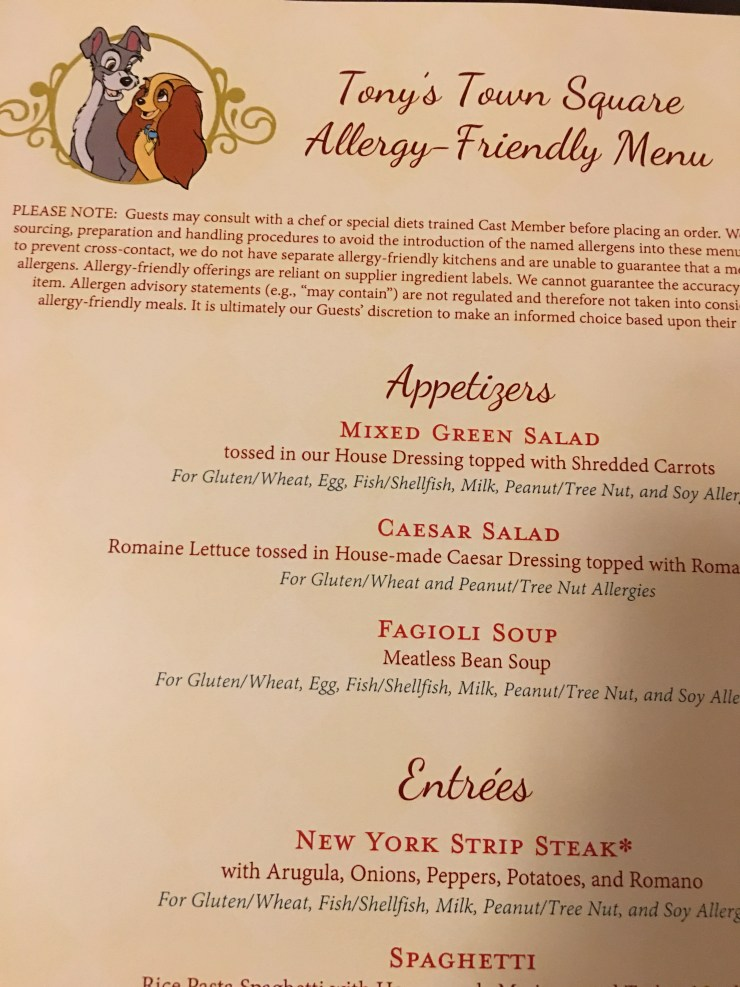 Disneyworld Allergy-Friendly menu