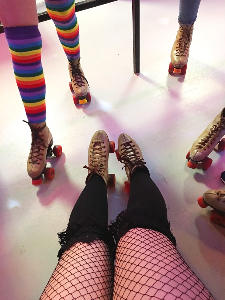 Roller Skates and Rainbow Knee highs