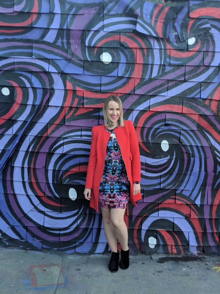Kaleidoscope Dress and Coral Coat