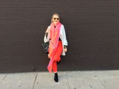 Pink Scarf and red pants