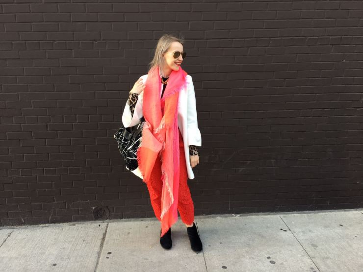 Bright pink and red layered fall look