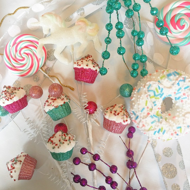 Craft supplies - lollipop, cupcake, unicorn, donut
