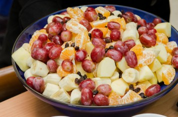 Fresh fruit salad before coconut milk drizzled