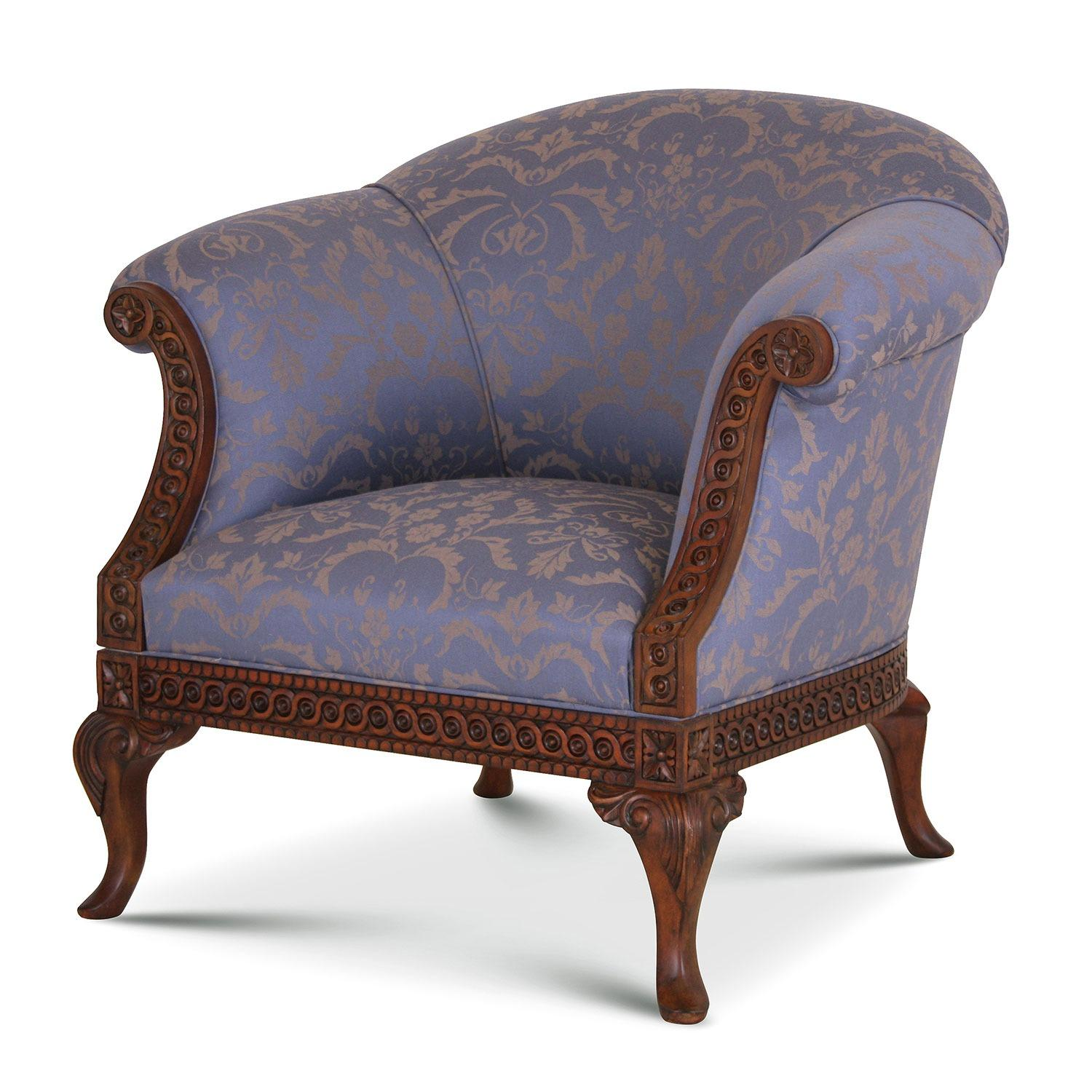 Damask Chair Pride Regency Style Chair In Blue Pleasley Damask