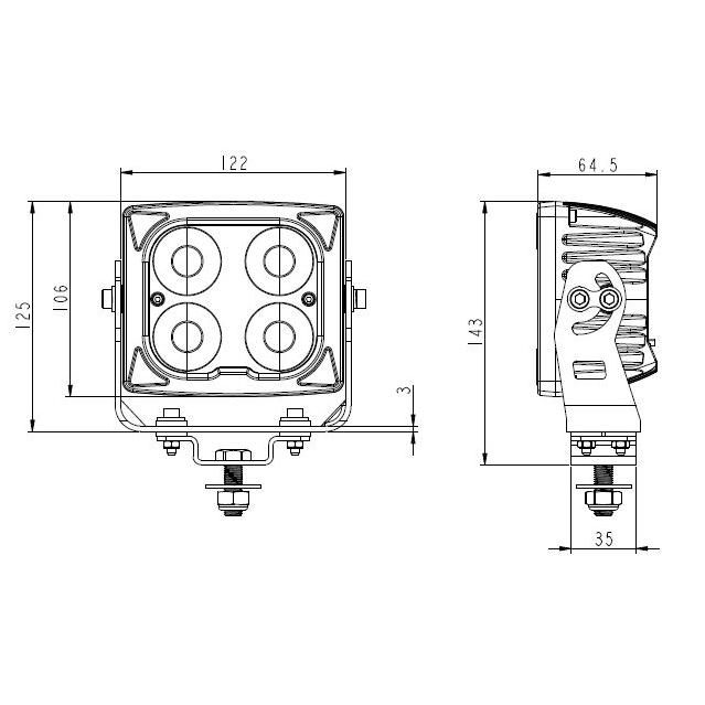 5″ Square Heated Heavy Duty Work Light #795401H