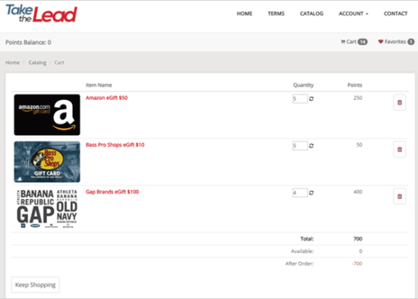 Shopping cart in the Ignite Platform for incentive programs with a reward catalog