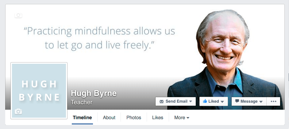 Hugh Byrne Facebook page design by Tippi Thole of Bright Spot Studio