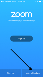 Zoom iPhone App - Opening Screen - Join a Meeting - Arrow