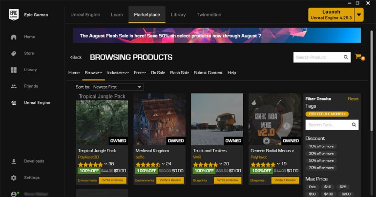 August 2020 Unreal Engine Free