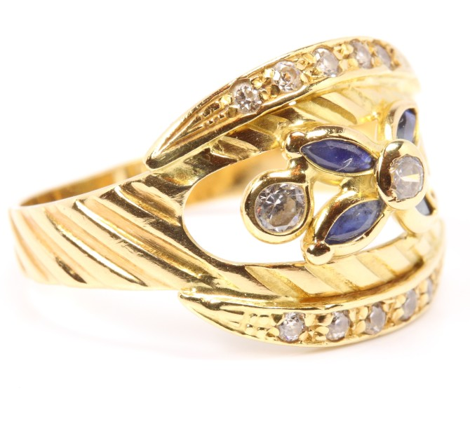14kt 585 Damen Safir Saphir Gold Ring Saphirring Goldring