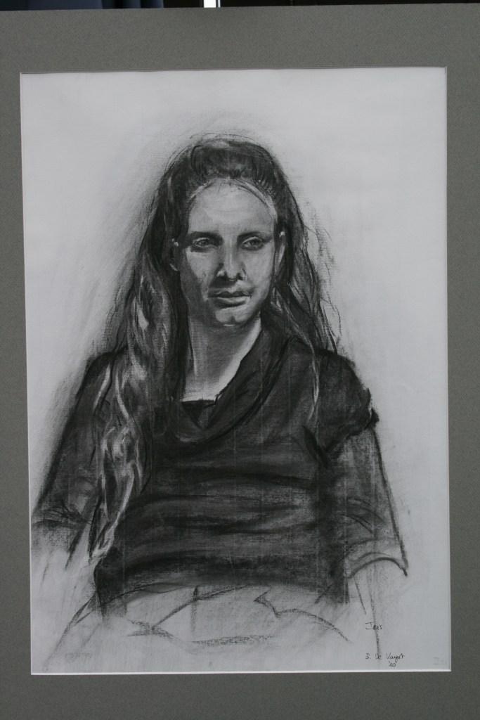 houtskoolportret naar levend model (50x70
