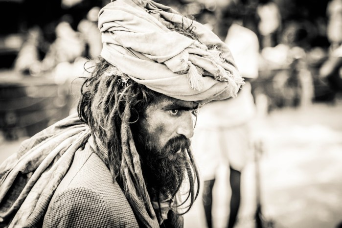 STREET PHOTOGRAPHY IMAGE SHOT BY BRIJESH KAPOOR OF A BEARDED MAN WEARING A TURBAN AND HAVING LONG HAIR