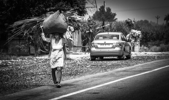 A STREET PHOTOGRAPHY BLACK AND WHITE IMAGE CAPTURED BY BRIJESH KAPOOR PHOTOGRAPHY SHOWING AN OLD WOMAN CARRYING GRASS AND WOOD ON HER HEAD IN RURAL INDIA