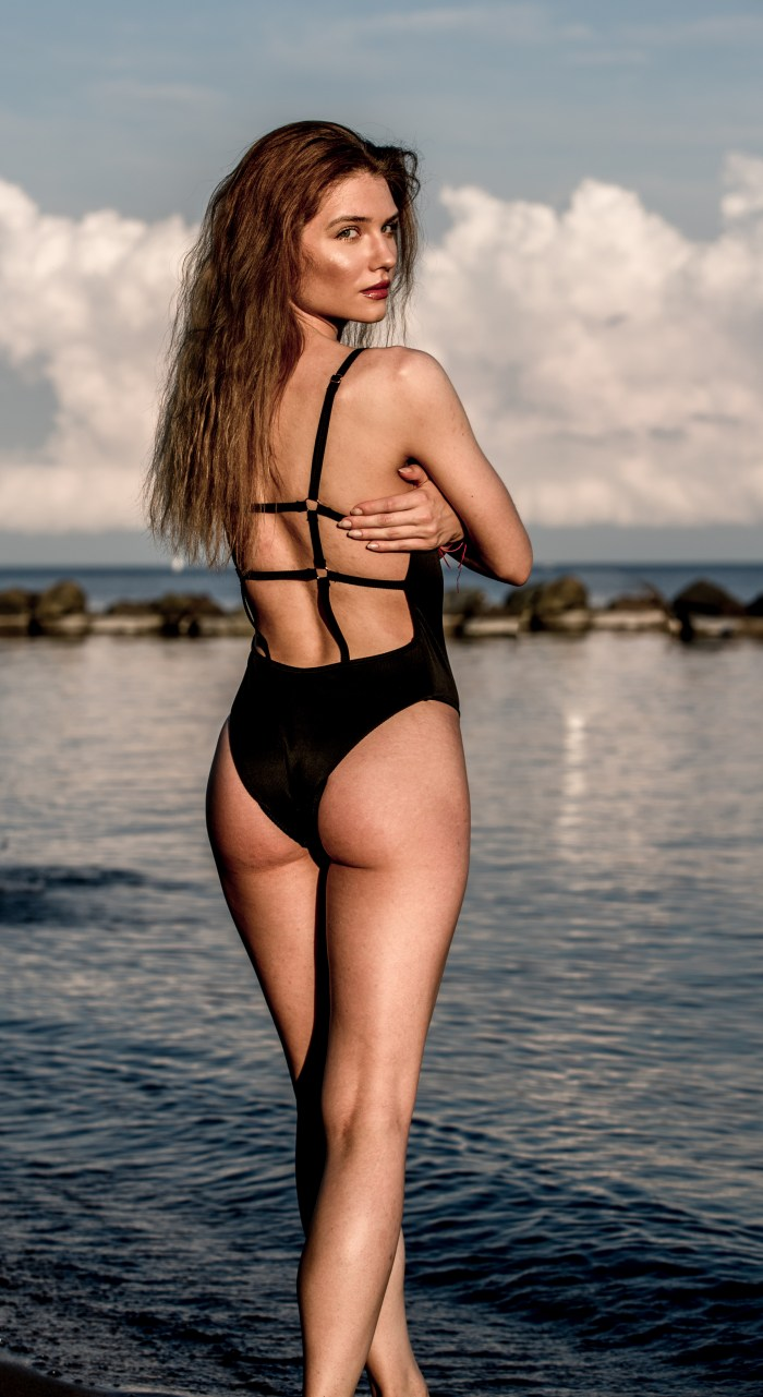 SEXY SWIMSUIT MODEL BACKPOSE