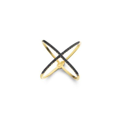 Anel X Cruzado com zircônias Negra