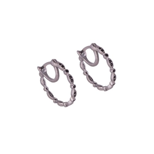 Brinco argola design leve joia folheada em rhodium negro